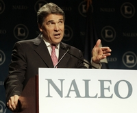 Governor Rick Perry speaks at the National Association of Latino Elected Officials (NALEO) convention in San Antonio on June 23, 2011.