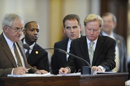 Republican State Reps. (l to r) Jimmie Don Aycock, R-Killeen; James White, R-Woodville, Bryan Hughes, R-Marshall,; and Jim Pitts, R-Waxahachie, work on HB4 budget amendments on March 31, 2011.