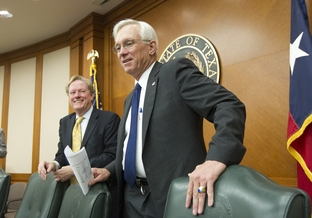 House Appropriations Committee Chairman Jim Pitts (l), R-Waxahachie, and Senate Finance Chaigman Steve Ogden (r), R-Bryan, talk to the press after the conference committee vote on HB1 on May 26, 2011.