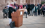 Imam Islam Mossad of the North Austin Muslim Community Center recites the Islamic call to prayer to start Texas Impact's interfaith prayer service on the capitol steps on the first day of session. Members of Christian, Muslim and Jewish faith traditions gathered to pray for legislators and to ask that they act as responsible shepherds for the people of Texas.