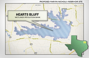 The Hearts Bluff Mitigation Bank as pictured with the proposed Marvin Nichols Reservoir