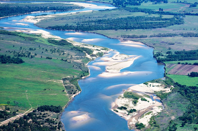 view of the Red River looking east, north of Bonham, Texas. Texas is