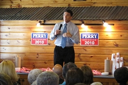 Gov. Rick Perry, campaigning at a barbecue restaurant in Temple.