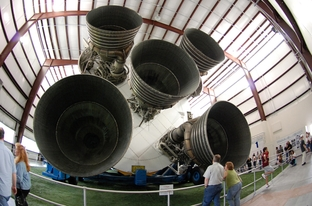 Saturn V rocket engine in Houston, TX.