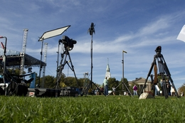 Media equipment stans ready on the green at Dartmouth for the Republican debates on October 11, 2011.