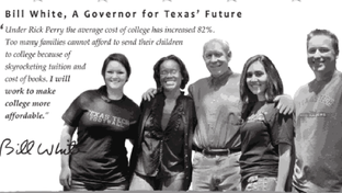 Bill White appears with Texas Tech students in his ad that runs in the university's student paper.