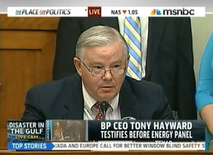 Rep. Joe Barton, R-Arlington, addresses BP chief executive Tony Hayward at an oil spill hearing in Washington.