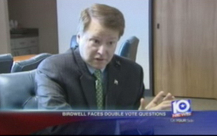 Screengrab of state Sen. Brian Birdwell on KWTX-TV in Waco.