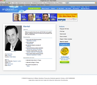 "Screenshot of ""Man4all"" page on Singlesnet.com with Democratic land commissioner candidate Hector Uribe's photo."