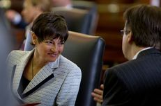 Freshman Sen. Donna Campbell, R-San Antonio, listens to Sen. Dan Patrick, R-Houston on January 9, 2013.