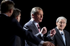 Lt. Gov. David Dewhurst and former Dallas Mayor Tom Leppert, right, at a U.S. Senate candidate debate on Jan. 12, 2012.