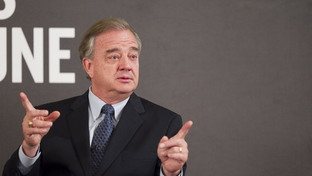 Chancellor of the Texas A&M System John Sharp makes a point to the TribLive audience at the Austin Club on September 29, 2011.