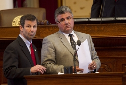 "State Rep. David Simpson (l), R-Longview, and State Rep. Allen Fletcher (r), R-Tomball, look for votes on the House floor during debate on SB9 ""sanctuary cities"" legislation on June 27, 2011.  The measure passed second reading on a voice vote."