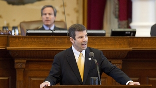 State Rep. David Simpson, R-Longview, delivers a personal privilege speech at the end of the House session on June 29, 2011.