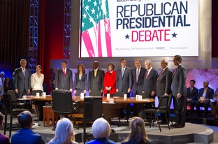 The moderators and Republican candidates are introduced at the Dartmouth Debates in Hanover, NH on October 11, 2011.