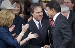 Speaker Straus and Gov. Rick Perry shake hands at the 2011 Inauguration.