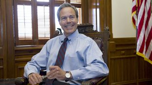 House Speaker Joe Straus, R-San Antonio, smiles at the end of a press briefing May 30, 2012 at his Capitol office.