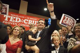 Republican Senate Candidate and Tea party Favorite Ted Cruz after a runoff election at a hotel in Houston, Tuesday July 31, 2012.