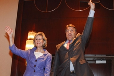 Gov. Rick Perry being endorsed by his former GOP primary rival, U.S. Sen. Kay Bailey Hutchison, at the 2010 Republican Party of Texas Convention.