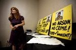 Activist Jamie Bush attends the Texas Forensic Science Commission board meeting on September 17, 2010 in Dallas, Texas.