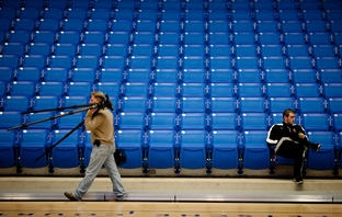 Men's assistant basketball coach Zak Buncik takes in the new center during a press conference at  The University of Texas Arlington  College Park Center. The 7000 seat event center opens February 1, 2012.