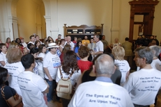 Texas teachers from Save Texas Schools crowd the hallway outside the House chamber protesting budget cuts on Saturday, May 21, 2011.