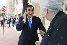 Ted Cruz greets a delegate outside the state Republican convention on June 7, 2012.