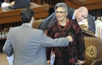 Rep. Senfronia Thompson, D-Houston, smiles after giving a rare personal privilege speech from the House floor on April 21, 2011.