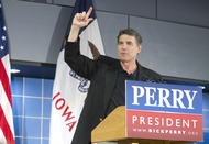 Gov. Rick Perry during a stump speech to Johnson County Republicans in Tiffin, Iowa, on Oct. 7, 2011.