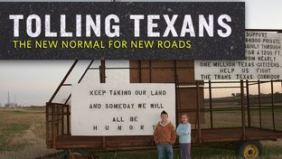 Caleb Ging and Libby Fischer stand near the Ging family's home in Coupland in front of signs protesting the Trans-Texas Corridor in 2007. The signs were made by Caleb and his parents, Scott and JoAnn Ging.