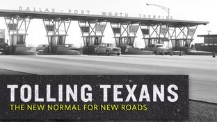 Cars passing through the toll turnstiles at the Dallas-Fort Worth Turnpike, which is now Interstate 30.