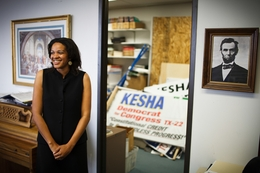 Kesha Rogers,  a LaRouche candidate running in the Democratic primary for U.S. Congress District 22 once held by Tom Delay, at a LaRouche office in Houston Monday, March 19, 2012.