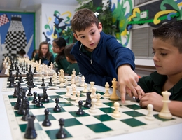 Brownsville's Sharp Elementary Chess Team members (L-R), Eduardo Rodriguez, 8 and Adrian Castro, 7 practice after school on Monday Nov. 15, 2011.