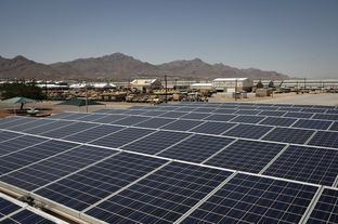 Rooftop solar panels on Ft. Bliss Army installation on April 23, 2012