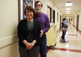 Gloria Garza, who had a liver transplant in 2009 at the University Transplant Center in San Antonio, stands with her husband, George, at Doctors Hospital at Renaissance in Edinburg on March 2.