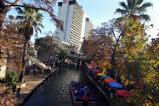 The San Antonio Riverwalk looking south from the Commerce St bridge, Thursday, December 22, 2011.