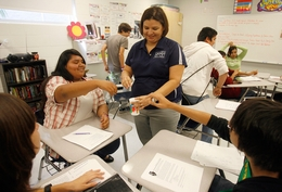 PSJA Southwest High School english teacher, Cindie Rivera, talks to small groups on Greek and Roman mythology in her classroom at PSJA Southwest High School in Pharr, Texas Tuesday November, 23, 2010.