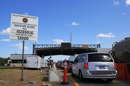 U.S. Border Patrol checkpoint in Falfurrias, Texas, Aug. 14. Illegal women seeking a second trimester abortion at clinics on the other side of the station are wary of trying to cross. A large sign shows drivers how many drugs and undocumented aliens have been seized in the last year.