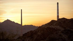 Seen is the ASARCO Smelter site on Sunday July 8, 2010 in El Paso, Texas. The site began operations as a lead smelter in 1887 and started producing copper in 1910. Plagued by a series of environmental problems and a slump in the price of copper, Asarco declared Chapter 11 bankruptcy in 2005 and shut down.