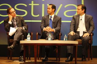 Republican senate nominee Ted Cruz and San Antonio mayor Julián Castro debate the future of Texas politics at The Texas Tribune Festival on September 22, 2012.