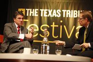 The second annual Texas Tribune Festival kicked off with with a conversation between Gov. Rick Perry and Evan Smith at the AT&T Conference Center in Austin on Sept. 21, 2012.