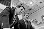 State Rep. Rick Perry with House Speaker Gib Lewis (D-Fort Worth) during the 69th Legislative session, on September 2, 1986.