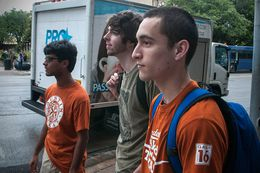 UT freshmen Utkarsh Paul (l), Joesph Zukis (c) and Jorge Mathuta (r) were evacuated from their dorms after receiving a text message from UT warning them of a possible threat. (September 14, 2012)
