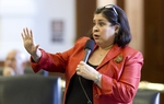 Sen. Leticia Van de Putte asks questions of a witness as the Texas Senate debates Voter ID legislation as a Committee of the Whole.