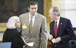 Sen. Judith Zaffirini (l), D-Laredo, speaks with Sen. Jeff Wentworth (r), R-San Antonio, about her Senate higher education bill on April 28, 2011.
