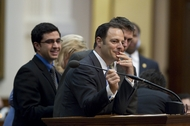 State Rep. Rafael Anchia, D-Dallas, ponders a question during evening debate on voter ID legislation on March 23, 2011.