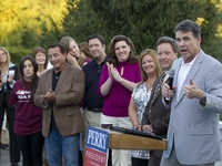 Gov. Rick Perry campaigns at a private Republican reception in Cedar Rapids, Iowa, on Aug. 15, 2011.