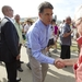 Rick Perry greets a visitor to the Iowa State Fair in Des Moines on August 15, 2011.