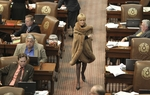 State Rep. Debbie Riddle, R-Houston, walks with a wrap to her desk as debate on HB1 state budget approached midnight on April 1, 2011.