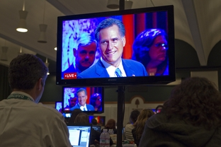 Mitt Romney at a presidential debate at Dartmouth College on Oct. 11, 2011.